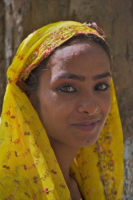 Local Indian Girl at Varanasi Sarnath  Buddhist Area, Temple and Dhaekh Stupa India