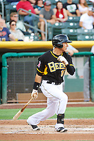 Efren Navarro (16) of the Salt Lake Bees at bat against the Tacoma Rainiers in Pacific Coast League action at Smith's Ballpark on July 8, 2014 in Salt Lake City, Utah.  (Stephen Smith/Four Seam Images)