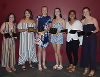RICK PECK/SPECIAL TO MCDONALD COUNTY PRESS<br /> Lady Mustang Basketball Awards - Left to right: Lily Allman (Player of the Year and Most Improved), Laney Wilson (6th Man of the Year), Kristin Penn (Most Rebounds), Sam Frazier (Four-Year Commitment), Rita Santillan (Defensive Player of the Year and Most 3-Pointers) and Ragan Wilson (Most Assists and Offensive Player of the Year). Not present: Caitlyn Barton (Best Practice Player).