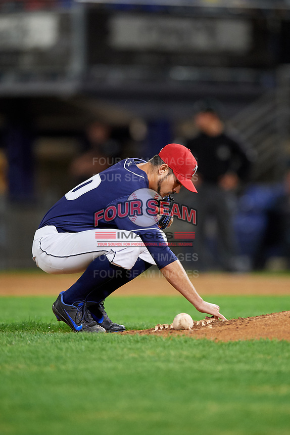 Binghamton Rumble Ponies relief pitcher Stephen Nogosek (10) during a game against the Portland Sea Dogs on August 31, 2018 at NYSEG Stadium in Binghamton, New York.  Portland defeated Binghamton 4-1.  (Mike Janes/Four Seam Images)