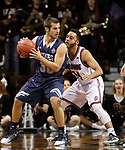 SIOUX FALLS, SD: MARCH 22: Luke Schroepfer #30 from Colorado Mines looks to back down Tyler Jenkins #14 from Bellarmine during the Men's Division II Basketball Championship Tournament on March 22, 2017 at the Sanford Pentagon in Sioux Falls, SD. (Photo by Dick Carlson/Inertia)