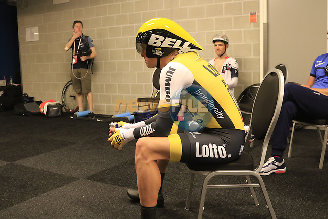 Twan Castelijns (NED) Lotto NL-Jumbo waits to start Stage 1 of the 2016 Giro d'Italia, an individual time trial of 9.8km around Apeldoorn, The Nethrerlands. 6th May 2016.<br /> Picture: Eoin Clarke | Newsfile<br /> <br /> <br /> All photos usage must carry mandatory copyright credit (&copy; Newsfile | Eoin Clarke)