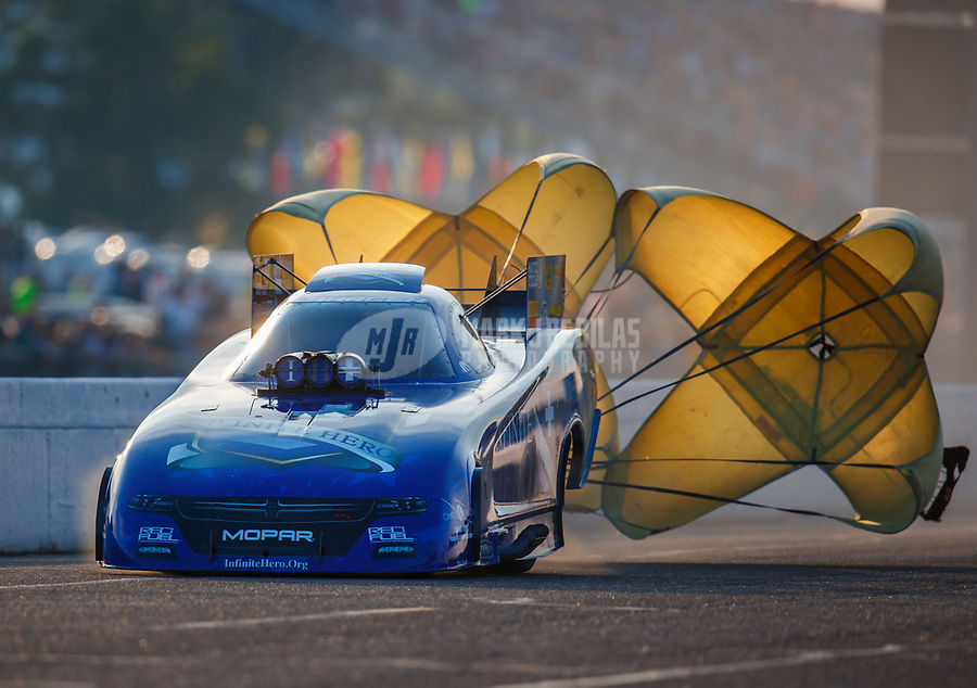 Aug 18, 2017; Brainerd, MN, USA; NHRA funny car driver Jack Beckman during qualifying for the Lucas Oil Nationals at Brainerd International Raceway. Mandatory Credit: Mark J. Rebilas-USA TODAY Sports