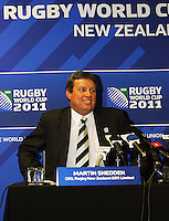 Rugby New Zealand (RNZ) 2011 Ltd CEO Martin Sneddon announces that Wellington and Christchurch will be the venues for the RWC 2011 quarter-finals. 2011 Rugby World Cup Quarter-finals and Bronze Final Venue Announcement at the Rugby New Zealand 2011 offices, Wellington, New Zealand on Thursday, 4 September 2008. Photo: Dave Lintott / lintottphoto.co.nz