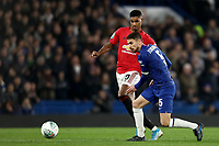 30th October 2019; Stamford Bridge, London, England; English Football League Cup, Carabao Cup, Chelsea Football Club versus Manchester United; Marcus Rashford challenges Jorginho of Chelsea - Strictly Editorial Use Only. No use with unauthorized audio, video, data, fixture lists, club/league logos or 'live' services. Online in-match use limited to 120 images, no video emulation. No use in betting, games or single club/league/player publications