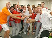 22-9-07, Netherlands, Rotterdam, Daviscup NL-Portugal, Dubbels, Het team met de bergeleiding vieren feest