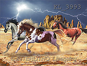 Interlitho, Lorenzo, REALISTIC ANIMALS, paintings, 3 horses, canyon(KL3993,#A#) realistische Tiere, realista, illustrations, pinturas ,puzzles