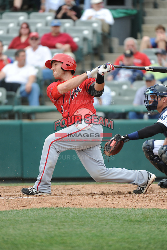 Harrisburg Senators catcher Brandon Bantz (13) during the game against the Trenton Thunder at ARM & HAMMER Park on May 21, 2014 in Trenton, New Jersey.  Harrisburg defeated Trenton 9-0.  (Tomasso DeRosa/Four Seam Images)