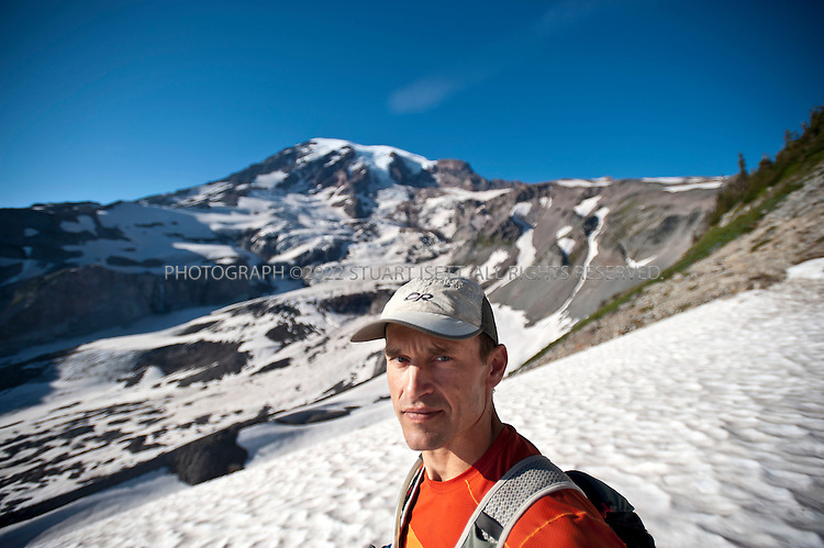 9/14/2011--Mt. Rainier, WA, USA....Climber Chad Kellogg, 39, training on Mt. Rainier, WASH., for the world speed record climb on Mt. Everest that he will attempt in May, 2012. Kellogg climbs solo and without oxygen...A former competitive luger, Kellogg is a Buddhist who wakes everyday at 4 a.m. to meditate before heading out for training and work. A few years ago, Kellogg had part of his colon removed because of cancer and also lost his first wife to a climbing accident..©2011 Stuart Isett. All rights reserved.
