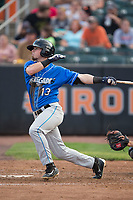 Carl Chester (13) of the Hudson Valley Renegades follows through on his swing against the Aberdeen IronBirds at Leidos Field at Ripken Stadium on July 27, 2017 in Aberdeen, Maryland.  The Renegades defeated the IronBirds 2-0 in game one of a double-header.  (Brian Westerholt/Four Seam Images)