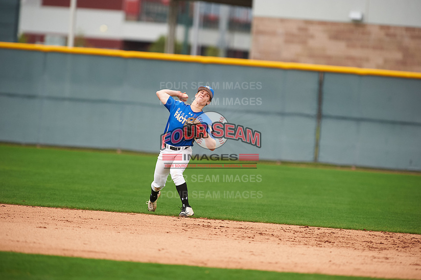 Matt McLain (2) of Beckman High School in Tustin, California during the Under Armour All-American Pre-Season Tournament presented by Baseball Factory on January 15, 2017 at Sloan Park in Mesa, Arizona.  (Zac Lucy/MJP/Four Seam Images)