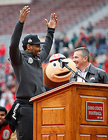 Ohio State Buckeyes quarterback Braxton Miller does O-H during the celebration for winning the national championship at Ohio Stadium on Jan. 24, 2015. (Adam Cairns / The Columbus Dispatch)