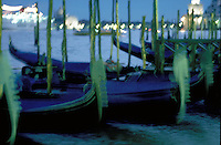 Gondolas at night, Venice, Italy