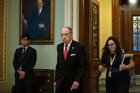 United States Senator Chuck Grassley (Republican of Iowa) leaves the Senate Chamber at the United States Capitol in Washington D.C., U.S. on Tuesday, March 24, 2020.  The Senate is working to finalize a deal on the Coronavirus Stimulus Package, after it was blocked by Senate Democrats two days in a row.  Credit: Stefani Reynolds / CNP/AdMedia