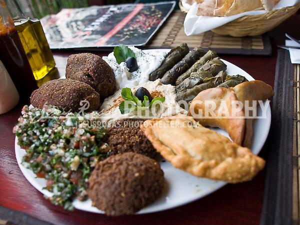 Arab food. Falafil, Wara dawali, tabuleh, hummus