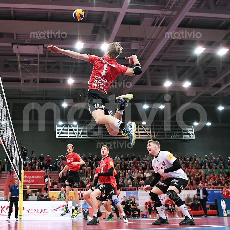 Volleyball 1. Bundesliga Saison 2016/2017  28.12.2016 TV Rottenburg - VfB Friedrichshafen Dirk Mehlberg  (TV Rottenburg)