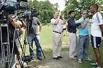 04 June 2012: Head coach Robin Fraser (right) talks to the media. Chivas USA held a training session on Field 6 at WakeMed Soccer Park in Cary, NC the day before playing in a 2012 Lamar Hunt U.S. Open Cup fourth round game.