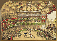 BNPS.co.uk (01202 558833)<br /> Pic: AmberleyBooks/BNPS<br /> <br /> Shakespeare Richard III performed at Astley's<br /> <br /> The extraordinary story of Britain's 'first showman' who swapped the battlefield for the circus ring is celebrated in a new book.<br /> <br /> Philip Astley served as a sergeant major in the British army in the mid 18th century, seeing action in the Seven Years War of 1756 to 1763.<br /> <br /> While in the military, he honed his horse riding skills, which would come in very handy for his second career.<br /> <br /> After his service ended, he became a celebrated 'trick rider', astounding audiences with his acrobatics - before founding the groundbreaking Astley Amphitheatre in Lambeth, south London, in 1773.