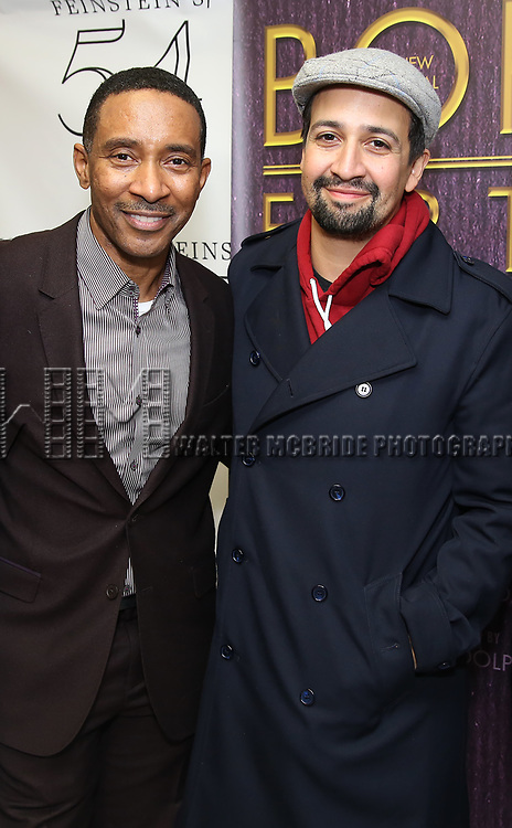 """Charles Randolph-Wright and Lin-Manuel Miranda  backstage after a Song preview performance of the Bebe Winans Broadway Bound Musical """"Born For This"""" at Feinstein's 54 Below on November 5, 2018 in New York City."""