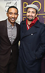"Charles Randolph-Wright and Lin-Manuel Miranda  backstage after a Song preview performance of the Bebe Winans Broadway Bound Musical ""Born For This"" at Feinstein's 54 Below on November 5, 2018 in New York City."