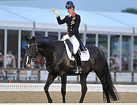 16.05.2014.  Windsor Horse Show London Charlotte Dujardin (GBR) riding Utopia during the CD13* FEI Grand Prix Freestyle to music