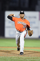 Aberdeen IronBirds pitcher Ivan Hernandez (38) delivers a pitch during a game against the Williamsport Crosscutters on August 4, 2014 at Bowman Field in Williamsport, Pennsylvania.  Aberdeen defeated Williamsport 6-3.  (Mike Janes/Four Seam Images)