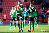 Scunthorpe United captain, Rory McArdle and Funso Ojo applaud the away fans at the end of the match during Charlton Athletic vs Scunthorpe United, Sky Bet EFL League 1 Football at The Valley on 14th April 2018