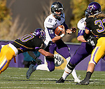 MANKATO, MN - NOVEMBER 1:  Luke Papilion #15 for the University of Sioux Falls is brought down by Cory Brent #10 from Minnesota State Mankato in the first quarter Saturday afternoon at Blakeslee Stadium in Mankato. (Photo by Dave Eggen/Inertia)