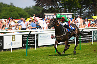 Winner of The Toby Balding Memorial Novice Stakes (Plus 10),Nyaleti ridden by John Egan and trained by Mark Johnston  during Father's Day Racing at Salisbury Racecourse on 18th June 2017