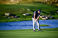 Phil Mickelson (USA) hits his approach shot on 15 during round 1 foursomes of the 2017 President's Cup, Liberty National Golf Club, Jersey City, New Jersey, USA. 9/28/2017.<br /> Picture: Golffile   Ken Murray<br /> ll photo usage must carry mandatory copyright credit (&copy; Golffile   Ken Murray)
