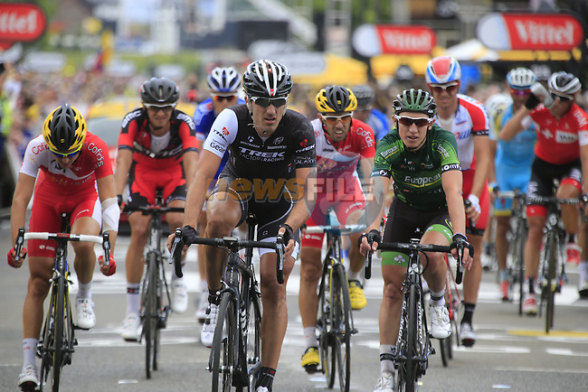 Riders including Fabian Cancellara (SUI) Trek Factory Racing cross the finish line at the end of Stage 2 of the 2014 Tour de France running 200km from York to Sheffield. 6th July 2014.<br /> Picture: Eoin Clarke www.newsfile.ie