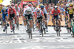 Peter Sagan (SVK) Bora-Hansgrohe and Mike Theunison (BEL) Team Jumbo-Visma lunge for the finish line of Stage 1 of the 2019 Tour de France running 194.5km from Brussels to Brussels, Belgium. 6th July 2019.<br /> Picture: Colin Flockton | Cyclefile<br /> All photos usage must carry mandatory copyright credit (© Cyclefile | Colin Flockton)