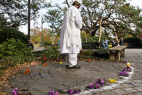 A sort of shaman (?) prepares before a rally/protest at Congo Square in downtown New Orleans on December 10, 2005.  After the storm, much of the citizenry of New Orleans felt their voices were not being heard by the local or national government.