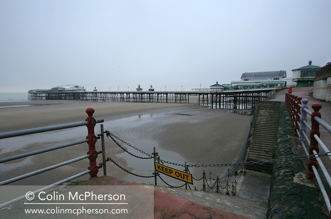 The North Pier in the seaside resort of Blackpool at low tide. This week the town lost out in a bid to become the venue for the United Kingdom's first so-called supercasino. The winning bid came from the city of Manchester and was a bitter blow for the Lancashire town's regeneration plans.