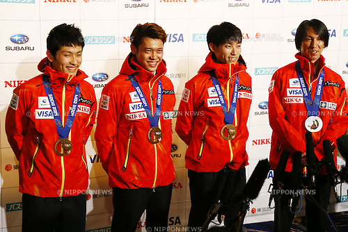 (L-R)<br /> Reruhi Shimizu,<br /> Taku Takeuchi,<br /> Daiki Ito,<br /> Noriaki Kasai,<br /> APRIL 16, 2014 : Sochi Olympic medalist honor ceremony was held at Tokyo Prince hotel in Tokyo, Japan. (Photo by AFLO SPORT)