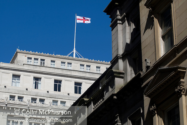 A St. George's flag flying from the top of a building in the heart of Liverpool's business district. The city centre of Liverpool underwent significant regeneration with a number of large-scale projects due to be completed in 2008-08. In 2007 the city celebrated its 800th anniversary and in 2008 it held the European Capital of Culture title together with Stavanger, Norway.