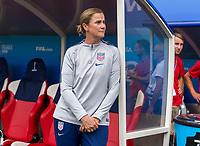 REIMS,  - JUNE 24: Jill Ellis waits for the game to begin during a game between NT v Spain and  at Stade Auguste Delaune on June 24, 2019 in Reims, France.