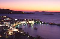 Greece Mykonos Town at dusk
