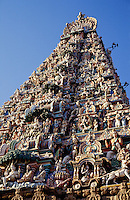 India. Madras/Chennai.  The Gopuram of the Kapaleeswarar Temple at Mylapore.  Hindu temple dedicated to the Godess Shiva.
