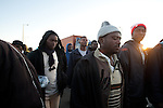 African asylum-seekers walk on a protest march, along a road north of Be'er Sheva, Israel. Some 200 African asylum-seekers, who illegally entered Israel, demonstrated against their condition at a detention facility, from which they walked out of two days earlier. At the end of the walk in Jerusalem, Israeli police and immigration arrested all protestors, and sent them back to Saharonim detention facility in the Negev desert.
