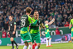 10.02.2019, Weser Stadion, Bremen, GER, 1.FBL, Werder Bremen vs FC Augsburg, <br /> <br /> DFL REGULATIONS PROHIBIT ANY USE OF PHOTOGRAPHS AS IMAGE SEQUENCES AND/OR QUASI-VIDEO.<br /> <br />  im Bild<br /> <br /> jubel tor 4:0 <br /> Kevin Möhwald / Moehwald (Werder Bremen #06)<br /> Sebastian Langkamp (Werder Bremen #15)<br /> <br /> Foto © nordphoto / Kokenge
