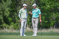Dylan Frittelli (RSA) and Shawn Stefani (USA) have a chat on the 2nd green during round 1 of the Houston Open, Golf Club of Houston, Houston, Texas. 3/29/2018.<br /> Picture: Golffile | Ken Murray<br /> <br /> <br /> All photo usage must carry mandatory copyright credit (© Golffile | Ken Murray)