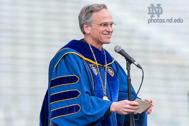 May 15, 2016; Notre Dame president Rev. John I. Jenkins, C.S.C. speaks at Commencement 2016. (Photo by Matt Cashore/University of Notre Dame)