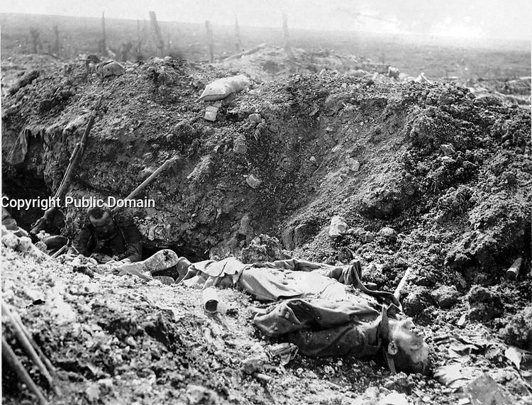 With the Canadians in the great battle<br /> Description<br /> <br /> German dead in a trench captured by the Canadians during the great battle of Sept.15th. 1916. The Canadians played a great part in storming the Village of Courcelette, FRANCE<br /> <br /> <br /> 15 september 1916