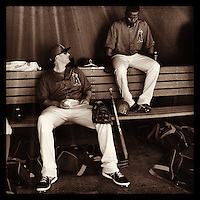 SCOTTSDALE, AZ - FEBRUARY 26:  Instagram of Angels players  Mark Trumbo and Erick Aybar in the dugout before the spring training game between the Arizona Diamondbacks and Los Angeles Angels at Tempe Diablo Stadium on February 26, 2013 in Tempe, Arizona. Photo by Brad Mangin