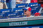 8 July 2017: A Montreal Expos Fan watches play between the Washington Nationals and the Atlanta Braves at Nationals Park in Washington, DC. The Braves shut out the Nationals 13-0 to take the third game of their 4-game series. Mandatory Credit: Ed Wolfstein Photo *** RAW (NEF) Image File Available ***