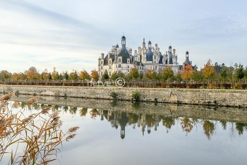 France, Loire-et-Cher (41), Chambord, château de Chambord, le Cosson et le château côté nord-est
