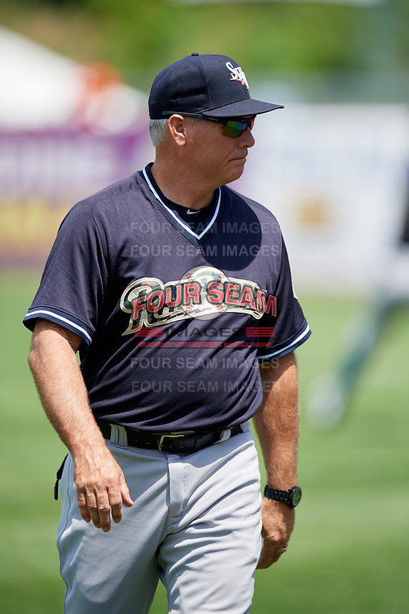 Scranton/Wilkes-Barre RailRiders bullpen coach Doug Davis (15) before a game against the Syracuse Chiefs on June 17, 2018 at NBT Bank Stadium in Syracuse, New York.  Syracuse defeated Scranton/Wilkes-Barre 4-2.  (Mike Janes/Four Seam Images)