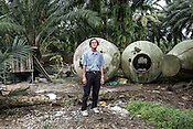 63 year old Thomas Wang, a former pig farmer poses for a portrait on an abandoned pig farm in Nipah village in Nageri Sembilan, Malaysia on October 16th, 2016. <br /> In September 1998, a virus among pig farmers (associated with a high mortality rate) was first reported in the state of Perak in Malaysia. Dr. Chua investigated and discovered the virus and it was later named, Nipah Virus. The outbreak in Malaysia was controlled through the culling of &gt;1 million pigs.