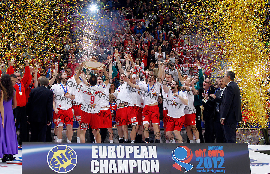 Denmark handball players celebrate victory in final men`s EHF EURO 2012 handball championship game against Serbia in Belgrade, Serbia, Sunday, January 29, 2011.  (photo: Pedja Milosavljevic / thepedja@gmail.com / +381641260959)